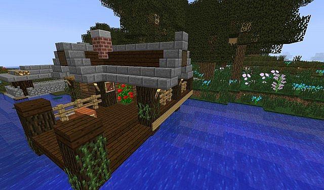 minecraft fishing house - 640×376