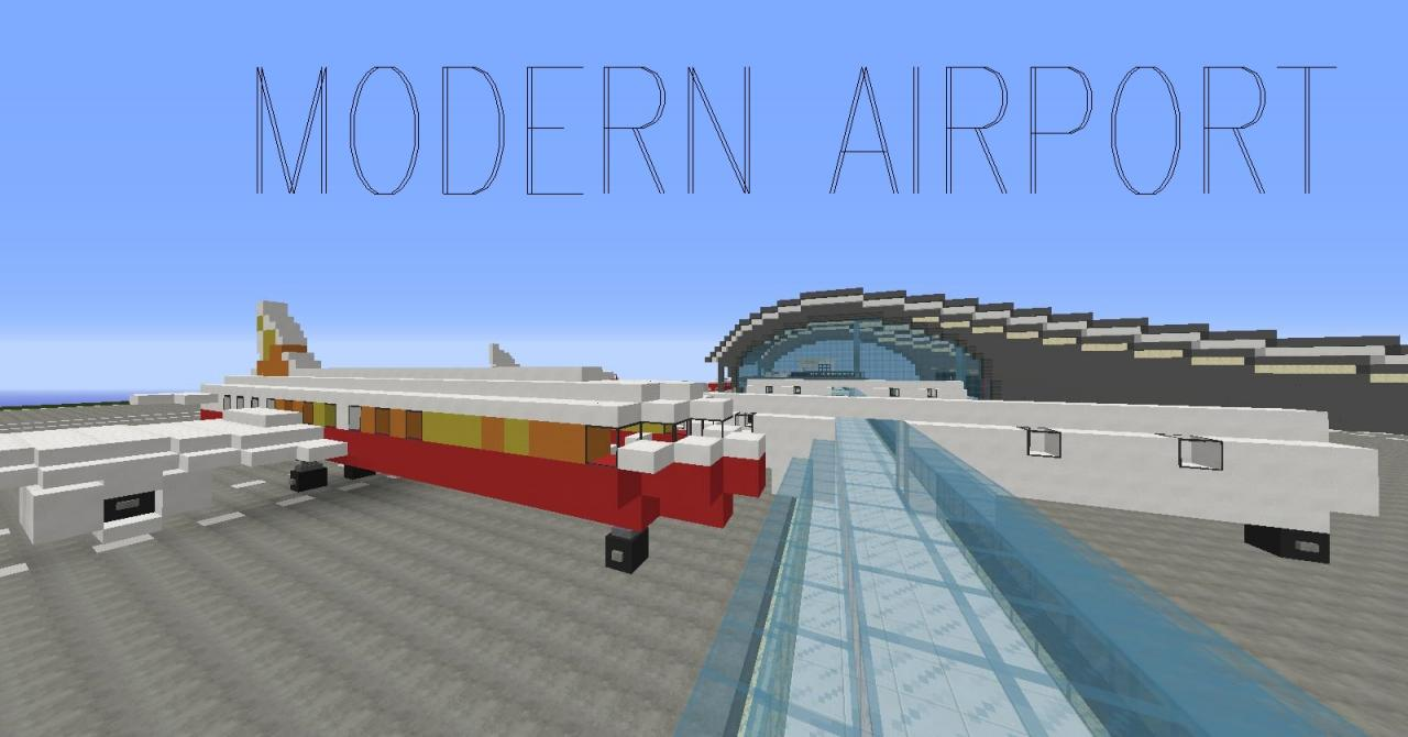 Big modern airport download schematic minecraft project for Minecraft big modern house schematic