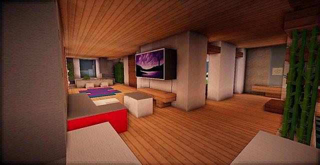 Minecraft modern house grey minecraft project for Modern living room minecraft