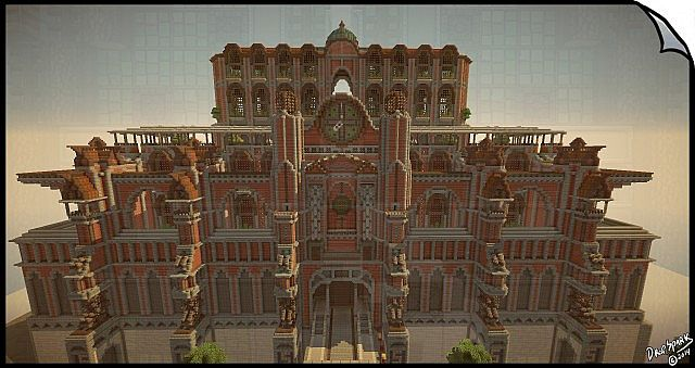 symmetry based steampunk mechanic palace building