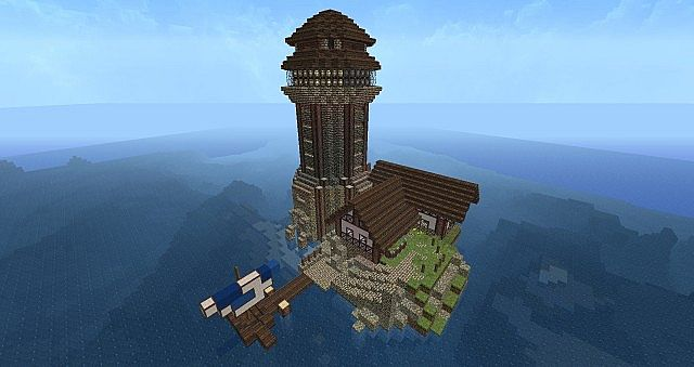 Working Medieval Lighthouse Island Minecraft Project