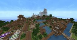 Himeji Castle (inspired) and small village Minecraft Map & Project