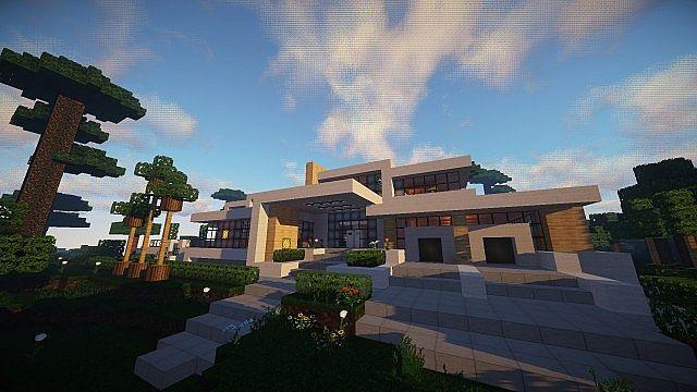 Hillside Villa House Modern Minecraft Project