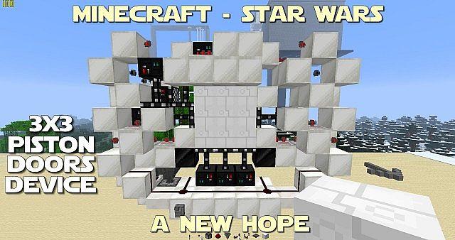 Tutorial death star 3x3 piston door minecraft project for Porte 3x3 minecraft