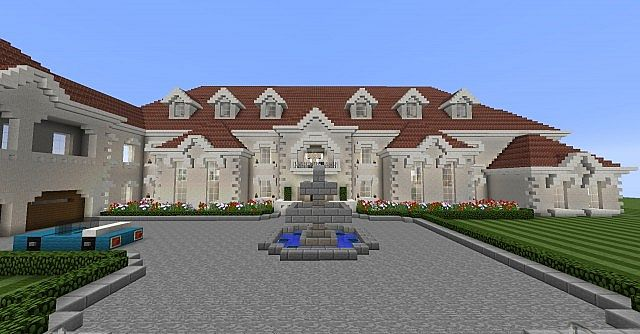 The house landscaping back yard - Private Beach Mansion Minecraft Project