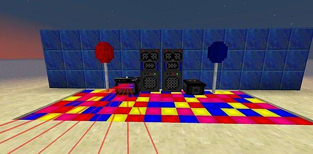 Speakers, SmokeMachine, DanceFloor type1, DJDeck  Lasers