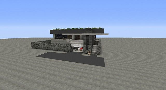 Modern House With working garage door Minecraft Project