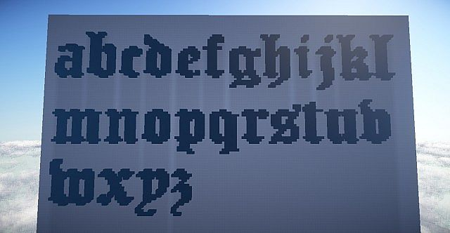 Old English Lettering [Schematic - Lowercase] Minecraft Project