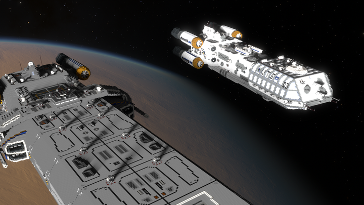 Skyship Archangel DDS 3 approaches Skyship Sprinter AOES 412 for underway replenshment over Proxima Centauri b