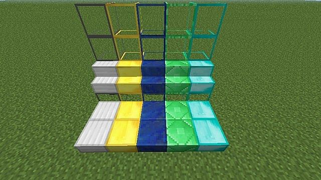 Different Stairs, slabs and Glass blocks for Iron, Gold, Lapis Lazuli, Emerald and Diamond block