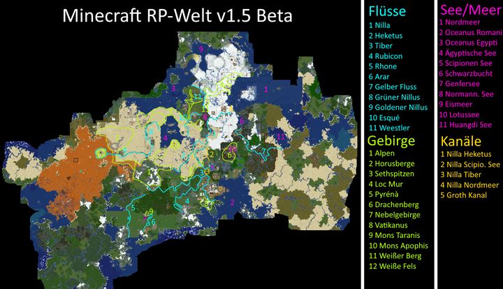 On this map you see the Rivers, Seas, Canels and Mountains of the RP-world. Only the named ones are marked