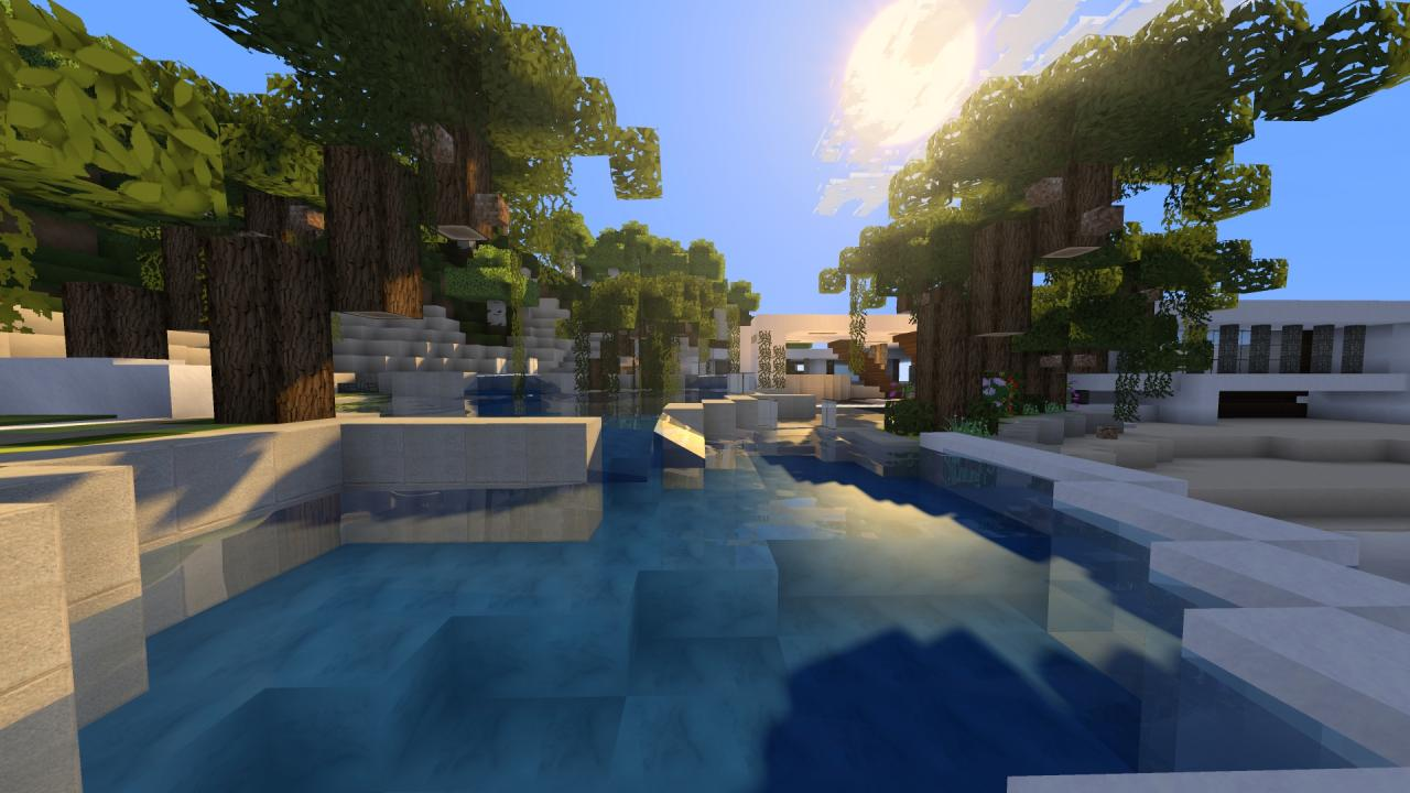 Modern mansion pool area minecraft project for Modern mansion with pool