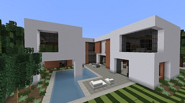 Brick contemporary minimal house minecraft project for Minimal housing