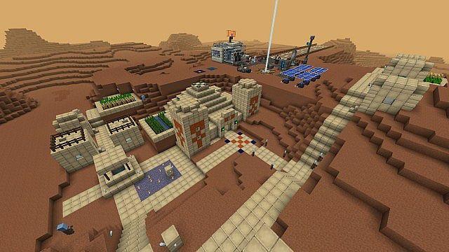 Martian village and pyramid