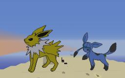 Glaceon and Jolteon Pokemon Pixel Art Minecraft Project