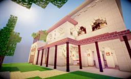 provencal hostel in a desert  near an oasis Minecraft