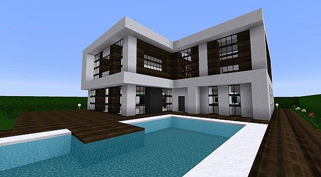 Cin matique maison moderne minecraft project for Plan maison minecraft moderne