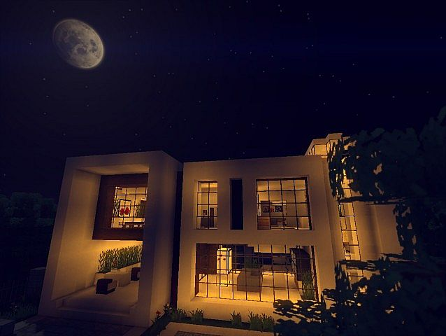 Modern house 2 download minecraft project for Modern house at night