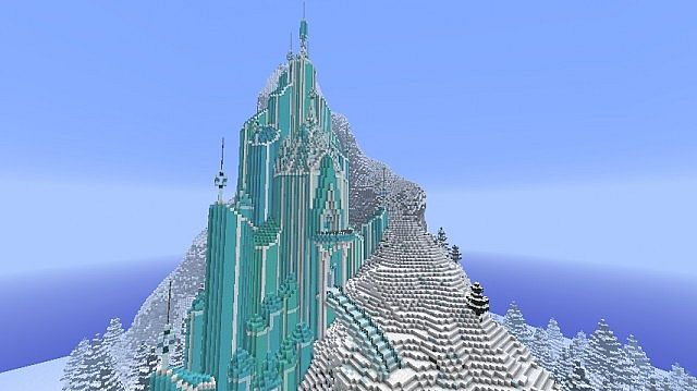 Frozen elsa 39 s ice castle minecraft project for How to build a house in a mountain