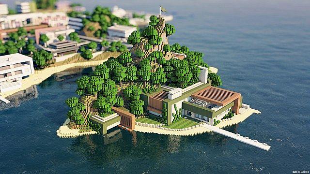 Modern Mansion Island Retreat Minecraft Project