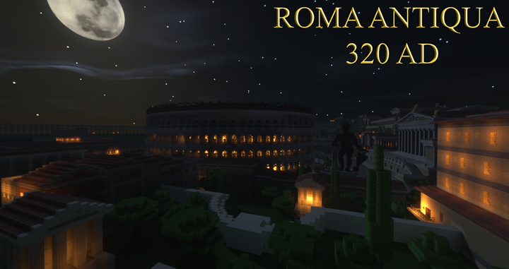 Night time view of the Colosseum and the Colossus of Nero
