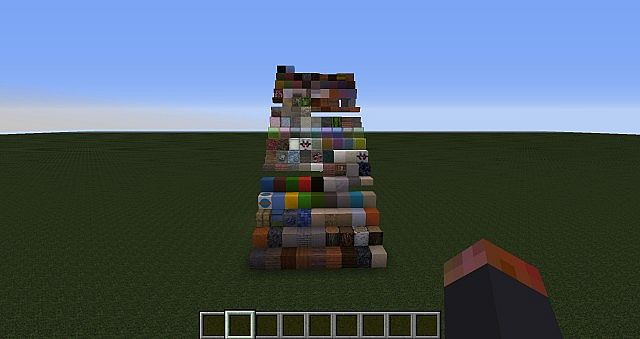 Every building block from creative mode look from bottom to top, left to right in Day time.