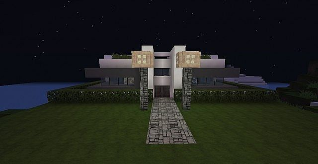Project engine modern villa 18x18 blocks minecraft project for Modern house 18x18