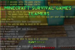 Survival Games Teaming Minecraft Blog Post