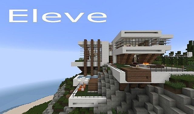 Eleve Modern Contemporary Cliff House Minecraft Project - Modern house on cliff