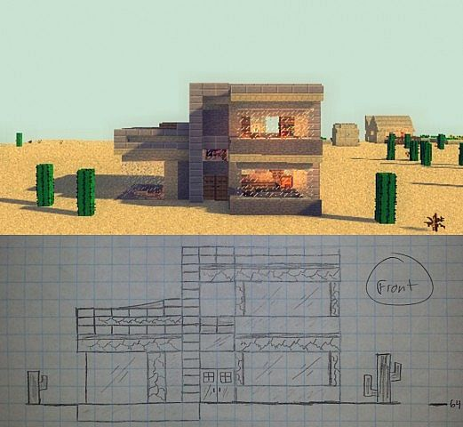 Minecraft Living Rooms: Simplistic Desert Bungalow [For House Plan Challenge