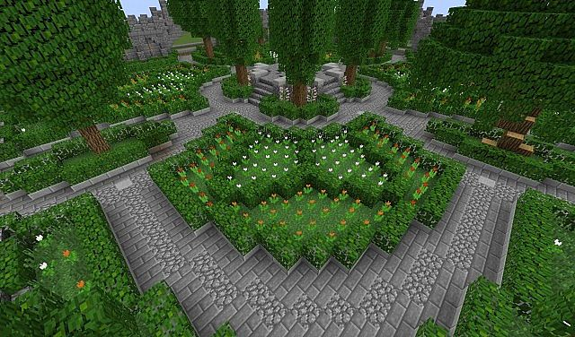 Garden of ethrintia french styled plot build 65x65 for Garden designs minecraft