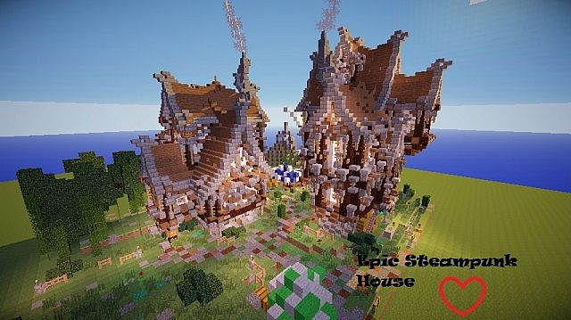 Epic Double Steampunk House Minecraft Map