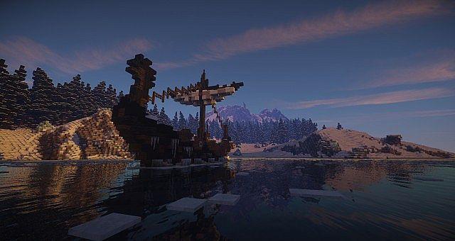 Nordic landscape with a drakkar Minecraft Project