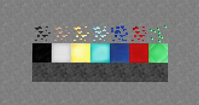 Ores, their blocks, stone and bedrock