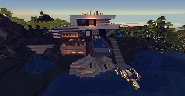 Maison ultra moderne 1 minecraft project for Maison moderne 06