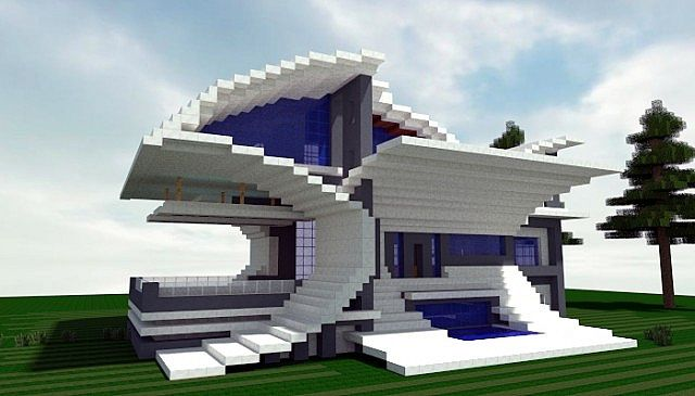 Angry fish a futurist modern house minecraft project for Modern house schematic