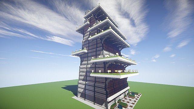 futuristic green skyscraper minecraft project
