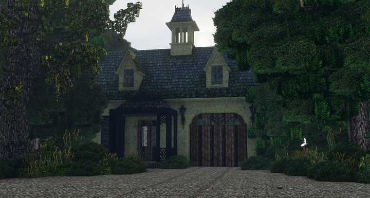 Carriage house with updated textures and weathering