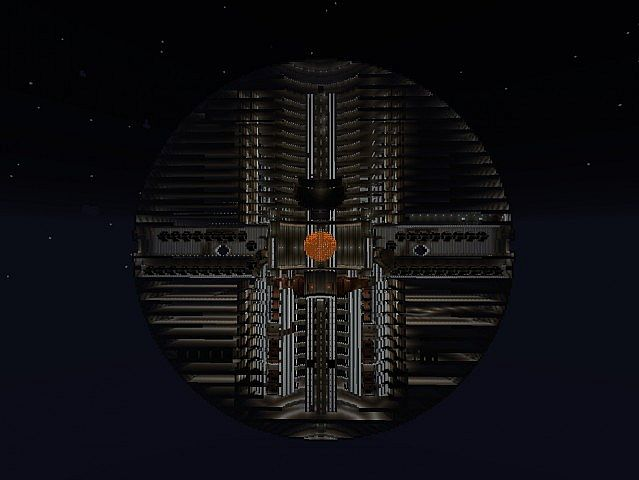 A cutaway of the Death Star in the space world.