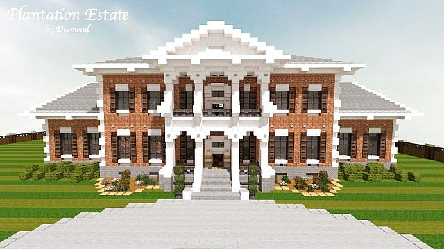 Ranch style house with front porch - Plantation Mansion Cubed Creative Minecraft Project