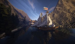 "Small Medival Port  with sailing ship (part of the ""World of Aegeon"" Project ) Minecraft"