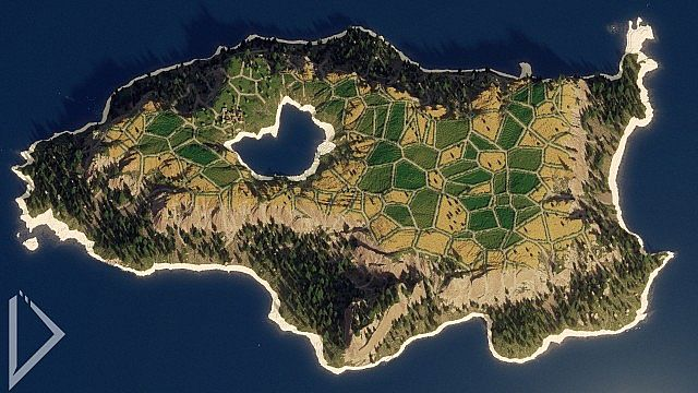 Island with crop fields with roads leading to a small village.
