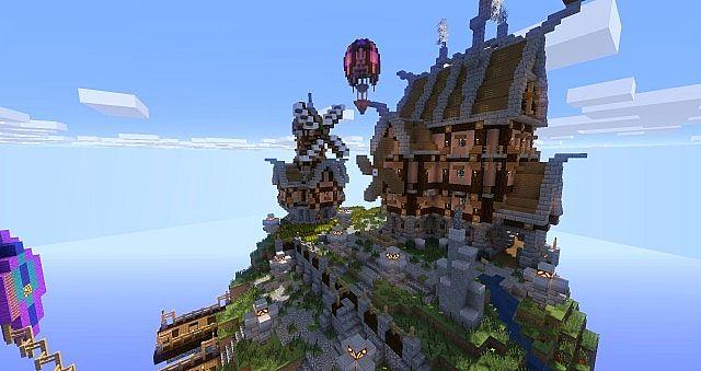 Skyblock Spawn Floating Steampunk Island on Minecraft Wall Designs