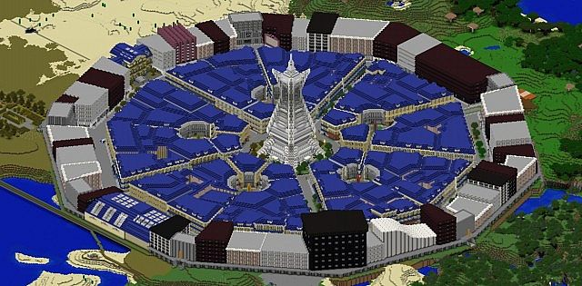 A Minecraft World Download render of the completed Lumiose City.