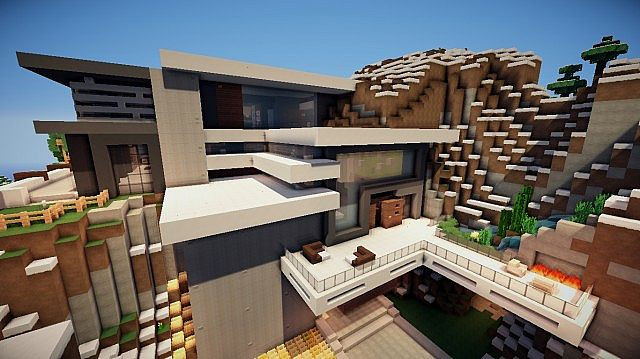 Modern Mountain House | by NoobCrafter101 Minecraft Map