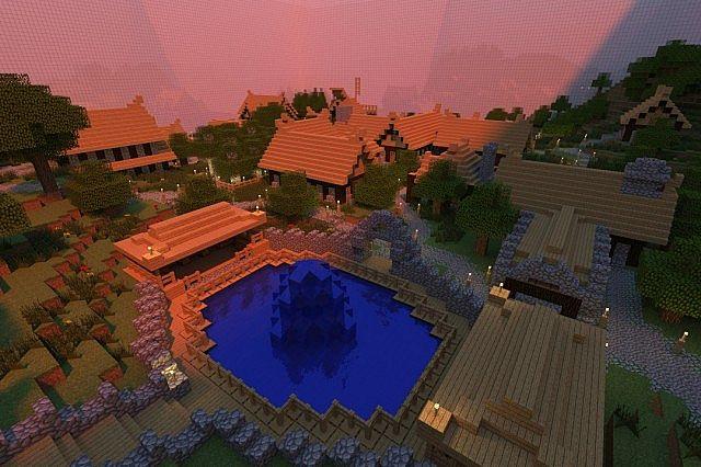 A render of the ending village