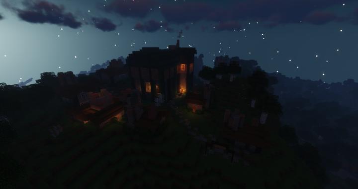 shaders front of Tavish Town at night