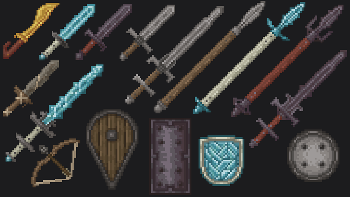 Extra weapons and shields