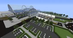 Modern city with airport, trainstation, metro (underground)