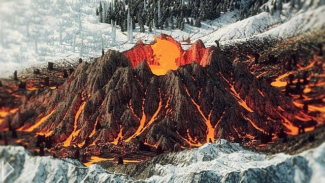 Skaeren volcano surrounded by snowy mountains.